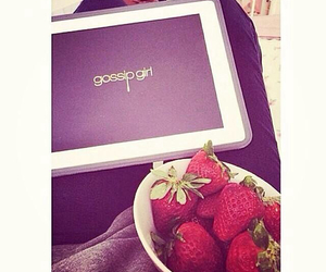 chuck bass, strawberry, and gossip girl image