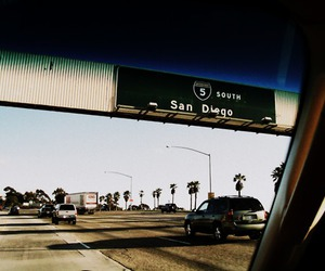 cars, freeway, and palm trees image
