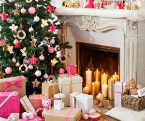 christmas, present, and pink image