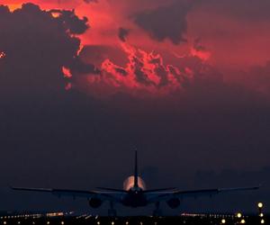 airplane, dawn, and landing image