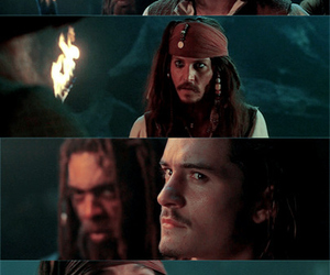 jack sparrow, will turner, and johnny depp image