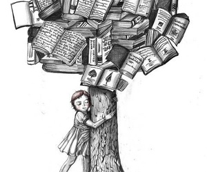 book, tree, and black and white image