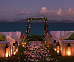 wedding, flowers, and beach image