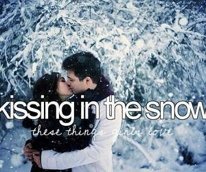 love, kiss, and snow image
