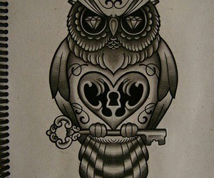 black and white, owl, and drawing image