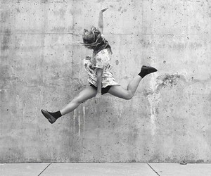 black and white, hipster, and jump image