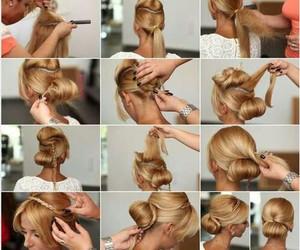blonde, girl, and bun image