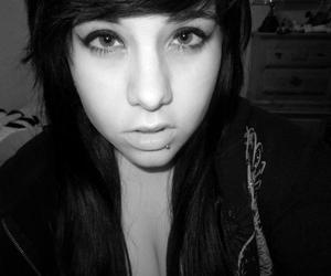 black and white, girl, and piercing image