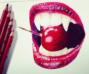 art, drawing, and vampire image