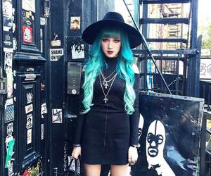 blue hair, black, and grunge image