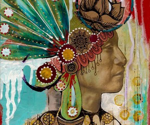 art, Collage, and native american image