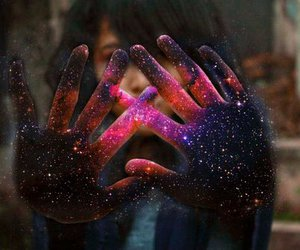 galaxy, girl, and hands image