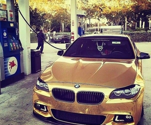 car, bmw, and gold image