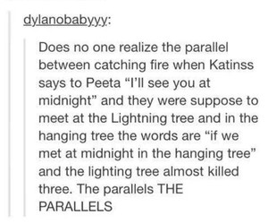 the hunger games, the hanging tree, and the parallel image