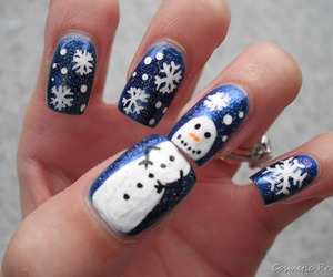 snowman, blue, and nails image