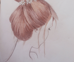 brown hair, color, and draw image