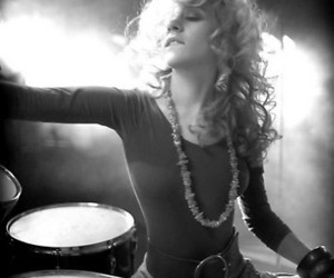 b&w, blond, and drum image
