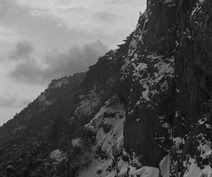 mountain, black and white, and nature image