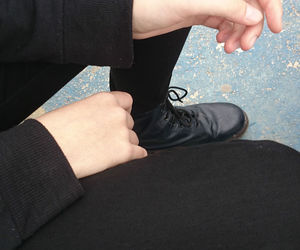 hands, pale, and all black image