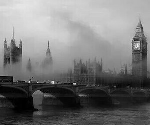 london, Big Ben, and black image