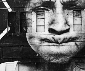 black and white and street art image