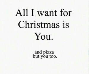 love, christmas, and pizza image