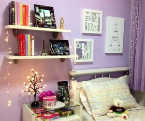 bedroom, purple, and cute image