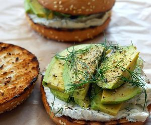 food, avocado, and bagel image