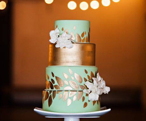 cake, gold, and wedding image