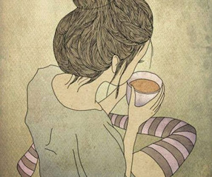girl, tea, and coffee image