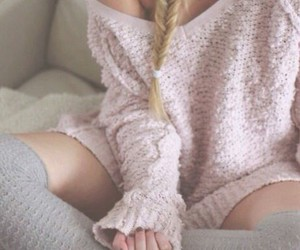 braided hair, warm clothes, and pastel pink image