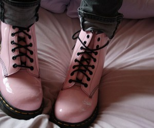 black, boots, and pale pink image