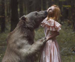 bear, girl, and nature image