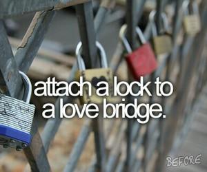love, lock, and bridge image