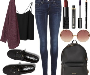 outfit, jeans, and makeup image