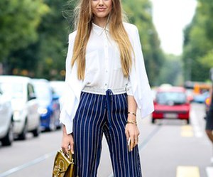 navy, white blouse, and pinstripe image