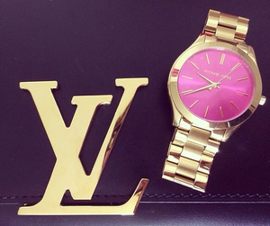 watch, gold, and pink image