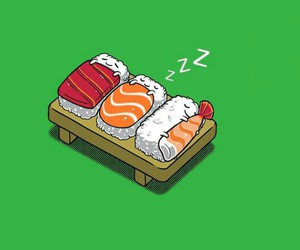 sushi, food, and sleep image