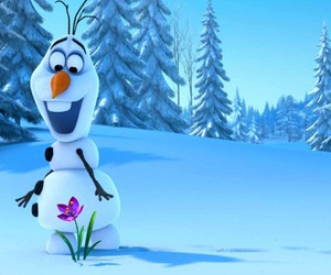 olaf, frozen, and flowers image