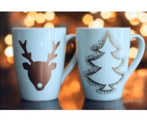 christmas, light, and mugs image