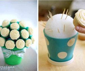 cupcake, diy, and flowers image
