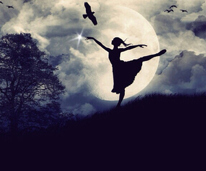beautiful, blue backround, and moon ballet image