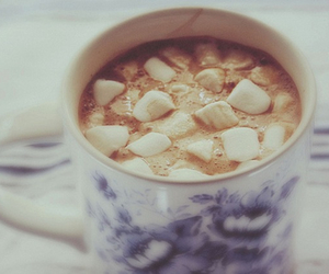 hot chocolate, marshmallow, and winter image