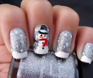 nails, pretty, and snowman image