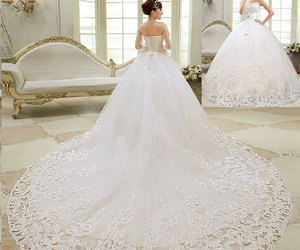 bridal gown, wedding dress, and shiny dress image