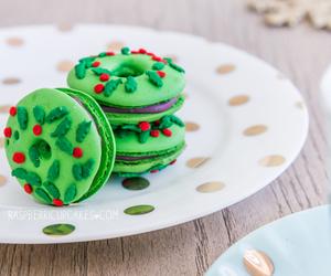 cherry, christmas, and macarons image