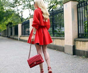 blonde, stylish, and chanel bag image