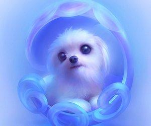 dog, art, and blue image