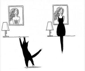 cat, dress, and black image