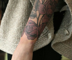 tattoo, rose, and arm image